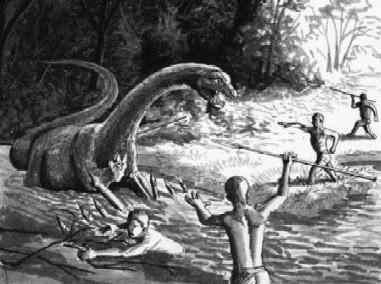 Humanos cazando dinosaurios como Dios manda